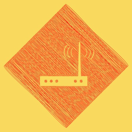 Wifi modem sign. Vector. Red scribble icon obtained as a result of subtraction rhomb and path. Royal yellow background.