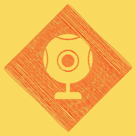 video call: Chat web camera sign. Vector. Red scribble icon obtained as a result of subtraction rhomb and path. Royal yellow background.