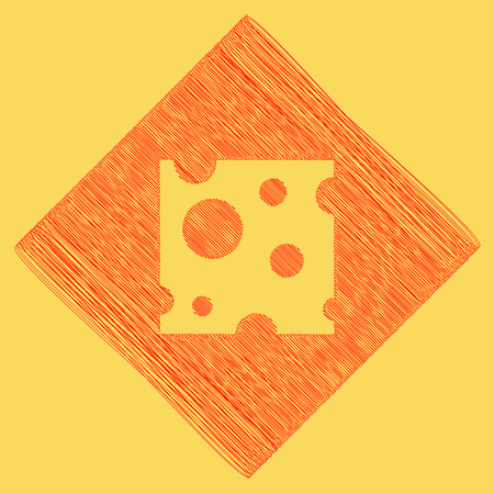 Cheese slice sign. Vector. Red scribble icon obtained as a result of subtraction rhomb and path. Royal yellow background.