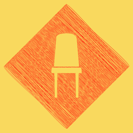 Office chair sign. Vector. Red scribble icon obtained as a result of subtraction rhomb and path. Royal yellow background. Illustration
