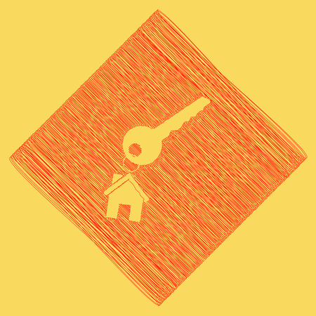 key with keychain as an house sign. Vector. Red scribble icon obtained as a result of subtraction rhomb and path. Royal yellow background.