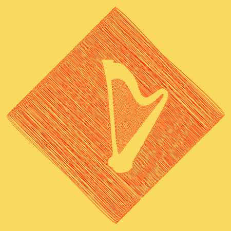 Musical instrument harp sign. Vector. Red scribble icon obtained as a result of subtraction rhomb and path. Royal yellow background.