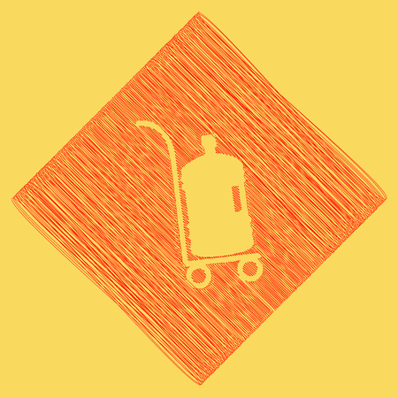 Plastic bottle silhouette with water. Big bottle of water on track. Vector. Red scribble icon obtained as a result of subtraction rhomb and path. Royal yellow background. Illustration