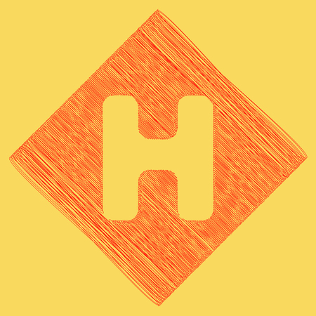 diamond letters: Letter H sign design template element. Vector. Red scribble icon obtained as a result of subtraction rhomb and path. Royal yellow background.
