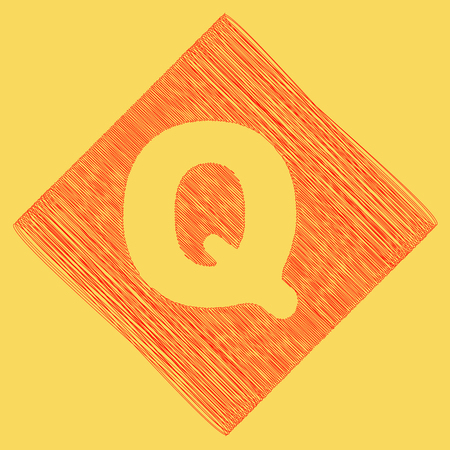 Letter Q sign design template element. Vector. Red scribble icon obtained as a result of subtraction rhomb and path. Royal yellow background.