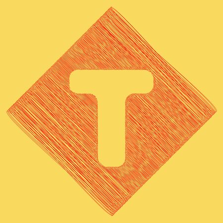 t square: Letter T sign design template element. Vector. Red scribble icon obtained as a result of subtraction rhomb and path. Royal yellow background.