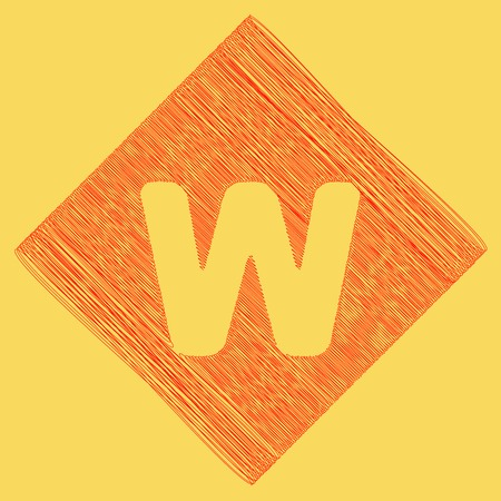 Letter W sign design template element. Vector. Red scribble icon obtained as a result of subtraction rhomb and path. Royal yellow background.