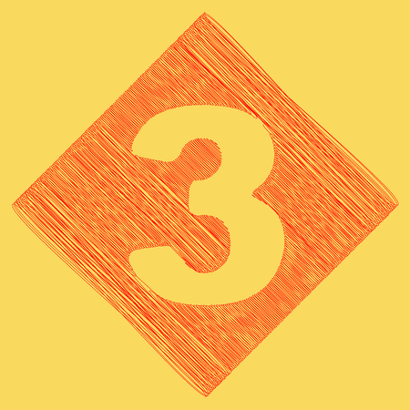 Number 3 sign design template element. Vector. Red scribble icon obtained as a result of subtraction rhomb and path. Royal yellow background. Illustration
