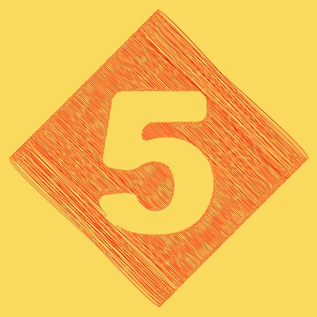 Number 5 sign design template element. Vector. Red scribble icon obtained as a result of subtraction rhomb and path. Royal yellow background.