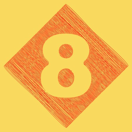 Number 8 sign design template element. Vector. Red scribble icon obtained as a result of subtraction rhomb and path. Royal yellow background. Illustration