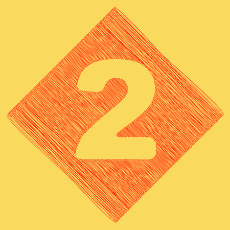Number 2 sign design template elements. Vector. Red scribble icon obtained as a result of subtraction rhomb and path. Royal yellow background.