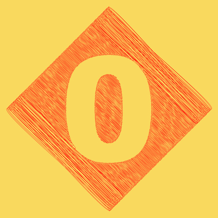 Number 0 sign design template element. Vector. Red scribble icon obtained as a result of subtraction rhomb and path. Royal yellow background. Illustration