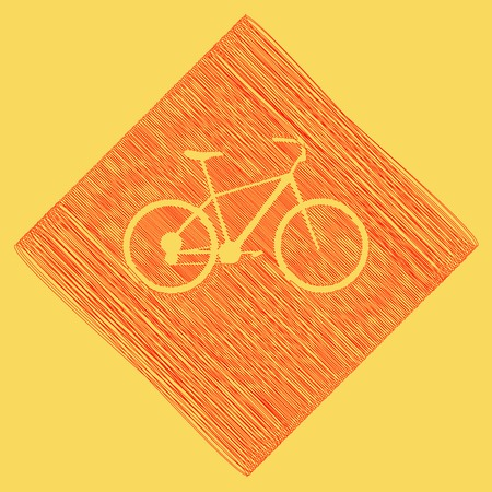 Bicycle, Bike sign. Vector. Red scribble icon obtained as a result of subtraction rhomb and path. Royal yellow background.