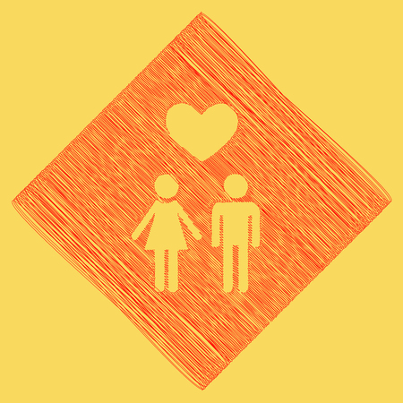 Family symbol with heart. Husband and wife are kept each other`s hands. Love. Vector. Red scribble icon obtained as a result of subtraction rhomb and path. Royal yellow background.