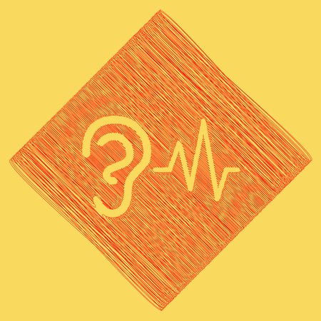 earphone: Ear hearing sound sign. Vector. Red scribble icon obtained as a result of subtraction rhomb and path. Royal yellow background.