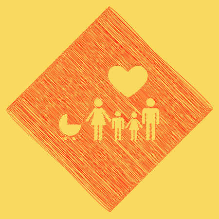 Family sign with heart. Husband and wife are kept childrens hands. Vector. Red scribble icon obtained as a result of subtraction rhomb and path. Royal yellow background. Illustration
