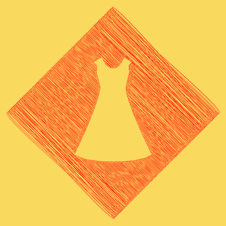 cor: beautiful long dress sign. Vector. Red scribble icon obtained as a result of subtraction rhomb and path. Royal yellow background. Illustration