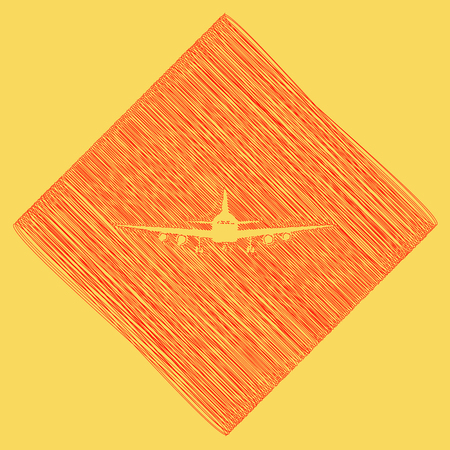 Flying Plane sign. Front view. Vector. Red scribble icon obtained as a result of subtraction rhomb and path. Royal yellow background.