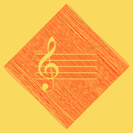 quaver: Music violin clef sign. G-clef. Vector. Red scribble icon obtained as a result of subtraction rhomb and path. Royal yellow background.