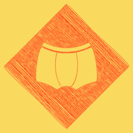 Man`s underwear sign. Vector. Red scribble icon obtained as a result of subtraction rhomb and path. Royal yellow background.
