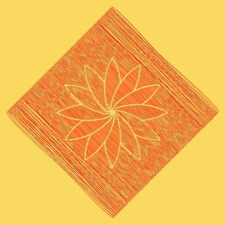 Flower sign. Vector. Red scribble icon obtained as a result of subtraction rhomb and path. Royal yellow background.