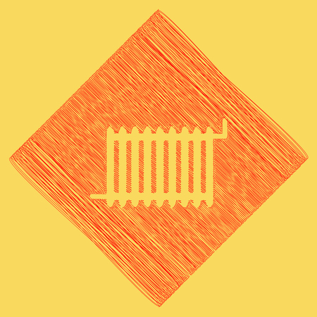 Radiator sign. Vector. Red scribble icon obtained as a result of subtraction rhomb and path. Royal yellow background.