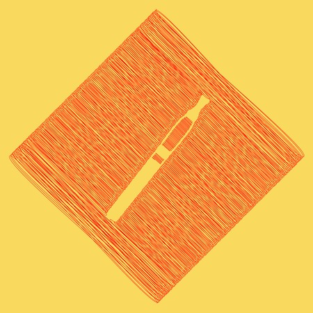 E-cigarette sign. Vector. Red scribble icon obtained as a result of subtraction rhomb and path. Royal yellow background.