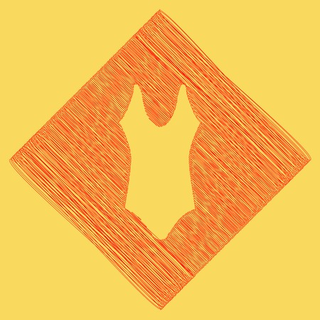 Woman`s swimsuit sign. Vector. Red scribble icon obtained as a result of subtraction rhomb and path. Royal yellow background.