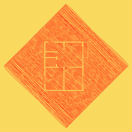 Apartment house floor plans. Vector. Red scribble icon obtained as a result of subtraction rhomb and path. Royal yellow background.