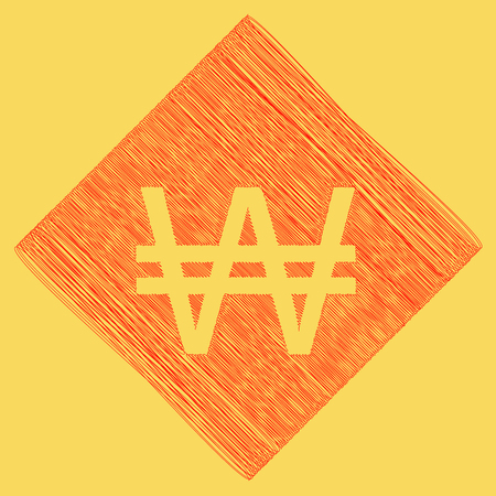 Won sign. Vector. Red scribble icon obtained as a result of subtraction rhomb and path. Royal yellow background. Illustration