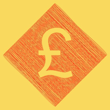 Turkish lira sign. Vector. Red scribble icon obtained as a result of subtraction rhomb and path. Royal yellow background.