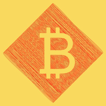 metal net: Bitcoin sign. Vector. Red scribble icon obtained as a result of subtraction rhomb and path. Royal yellow background. Illustration