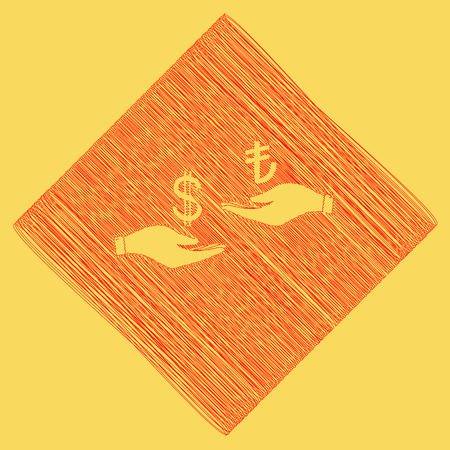 Currency exchange from hand to hand. Dollar and Turkey Lira. Vector. Red scribble icon obtained as a result of subtraction rhomb and path. Royal yellow background. Illustration