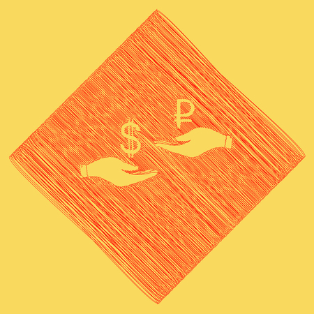 Currency exchange from hand to hand. Dollar and Ruble. Vector. Red scribble icon obtained as a result of subtraction rhomb and path. Royal yellow background. Illustration