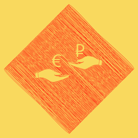 Currency exchange from hand to hand. Euro and Ruble. Vector. Red scribble icon obtained as a result of subtraction rhomb and path. Royal yellow background. Illustration