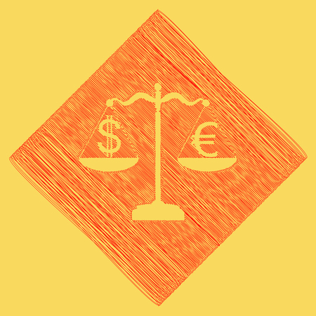 Justice scales with currency exchange sign. Vector. Red scribble icon obtained as a result of subtraction rhomb and path. Royal yellow background. Illustration