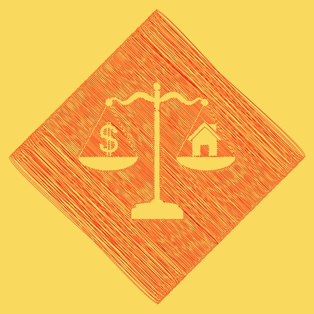 House and dollar symbol on scales. Vector. Red scribble icon obtained as a result of subtraction rhomb and path. Royal yellow background.