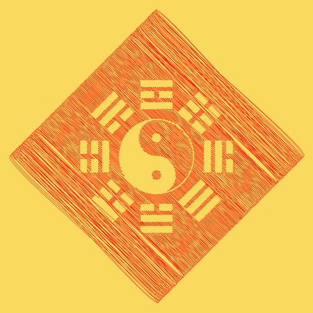tao: Yin and yang sign with bagua arrangement. Vector. Red scribble icon obtained as a result of subtraction rhomb and path. Royal yellow background. Illustration