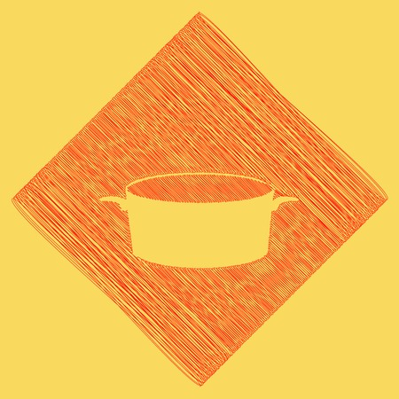 Pan sign. Vector. Red scribble icon obtained as a result of subtraction rhomb and path. Royal yellow background. Illustration