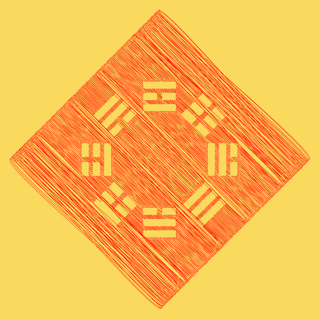 Bagua sign. Vector. Red scribble icon obtained as a result of subtraction rhomb and path. Royal yellow background.