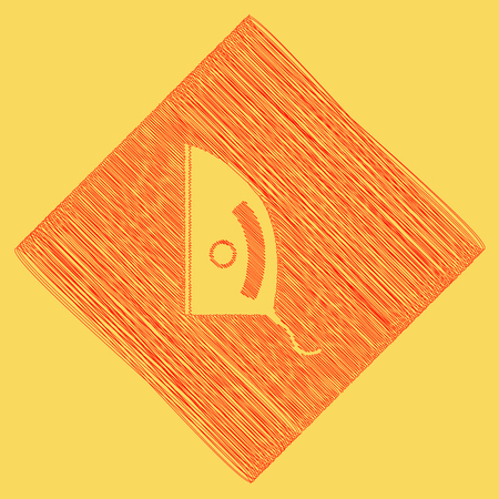 ironing: Iron sign. Vector. Red scribble icon obtained as a result of subtraction rhomb and path. Royal yellow background.
