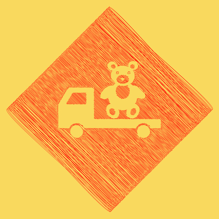Truck with bear. Vector. Red scribble icon obtained as a result of subtraction rhomb and path. Royal yellow background.