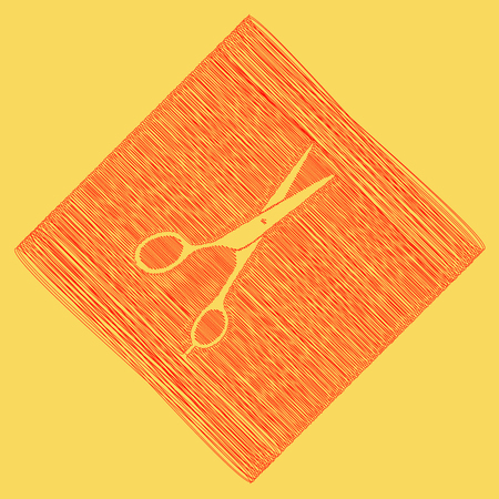 Hair cutting scissors sign. Vector. Red scribble icon obtained as a result of subtraction rhomb and path. Royal yellow background.