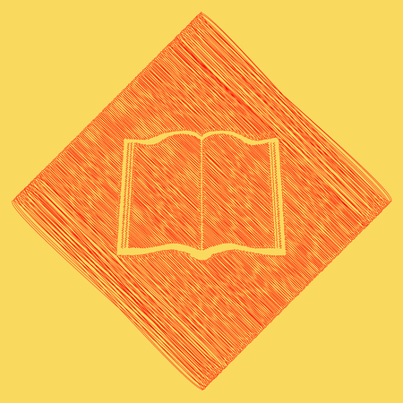 open notebook: Book sign. Vector. Red scribble icon obtained as a result of subtraction rhomb and path. Royal yellow background.
