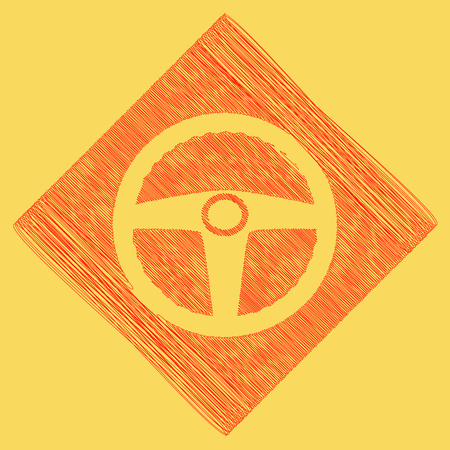 Car driver sign. Vector. Red scribble icon obtained as a result of subtraction rhomb and path. Royal yellow background.