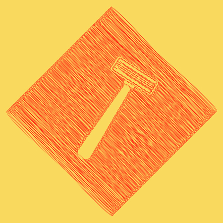 Safety razor sign. Vector. Red scribble icon obtained as a result of subtraction rhomb and path. Royal yellow background.