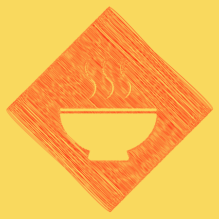 gastro: Soup sign. Vector. Red scribble icon obtained as a result of subtraction rhomb and path. Royal yellow background.