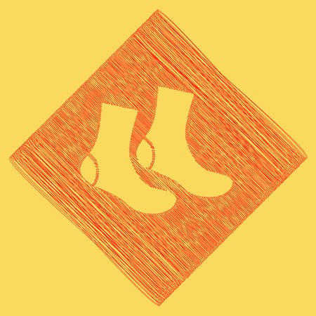 Socks sign. Vector. Red scribble icon obtained as a result of subtraction rhomb and path. Royal yellow background. Illustration