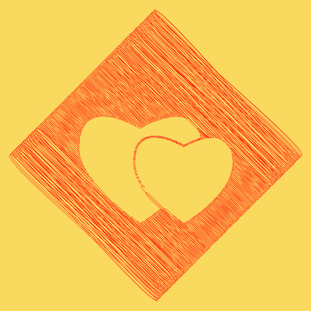 cor: Two hearts sign. Vector. Red scribble icon obtained as a result of subtraction rhomb and path. Royal yellow background. Illustration