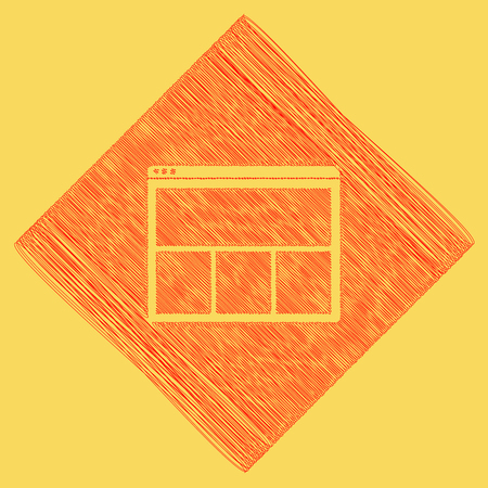 pc icon: Web window sign. Vector. Red scribble icon obtained as a result of subtraction rhomb and path. Royal yellow background.